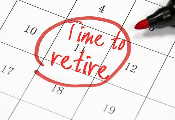 "A date circled on a calendar with the words ""Time to retire"" written on it."