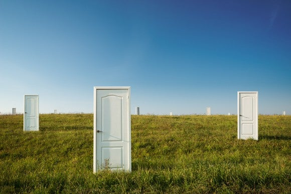 Doors in a field.