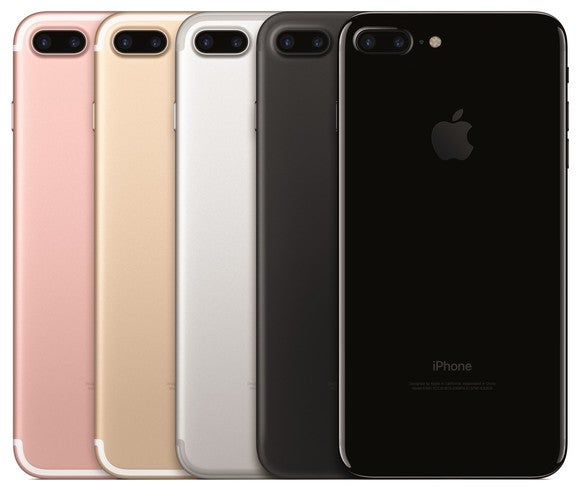 Apple's iPhone 7 Plus lineup in five colors -- rose gold, gold, silver, black, and jet black.