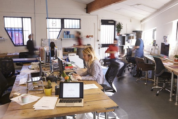 An open-office workplace