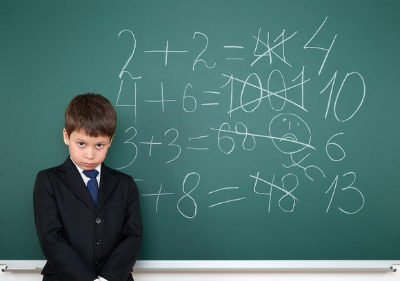 Boy standing in front of chalkboard with math equations.