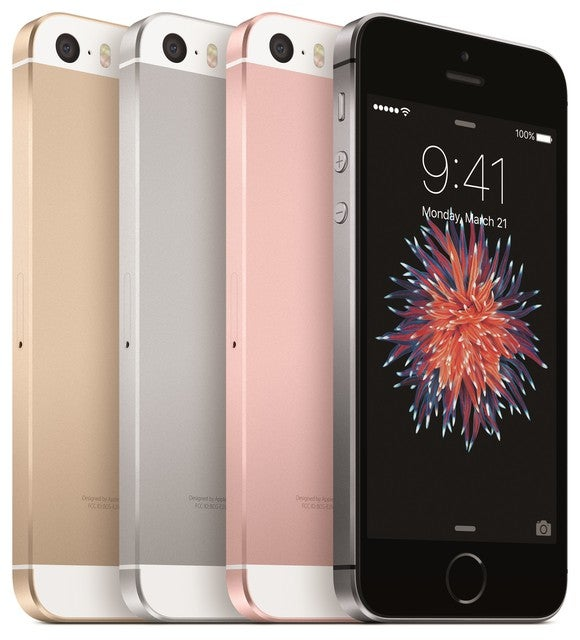 Apple's iPhone SE lineup in four colors: gold, silver, rose gold, and space gray.