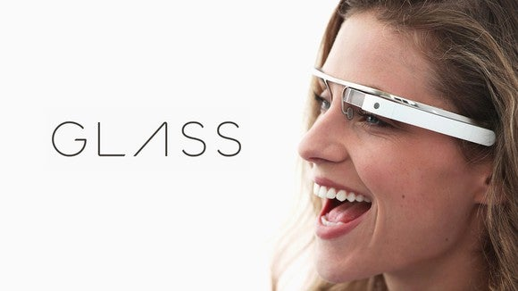 A woman wearing Google Glass.