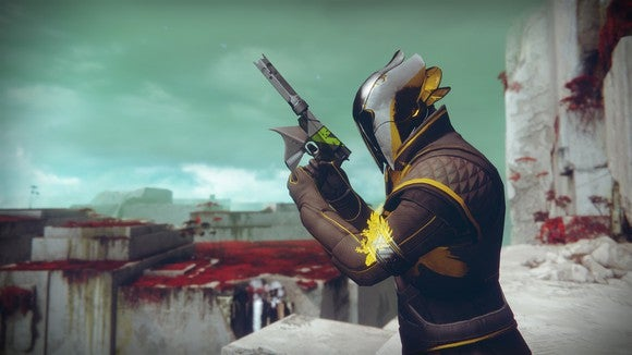 "Character from ""Destiny 2"" holding a gun."