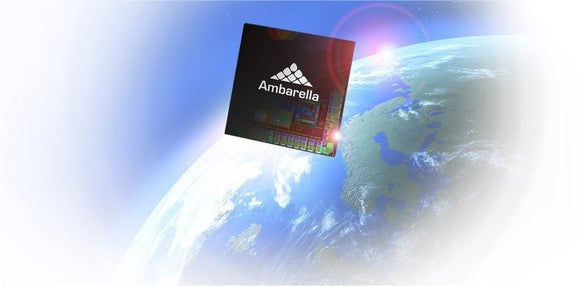 An illustration of an Ambarella chip flying  in space.