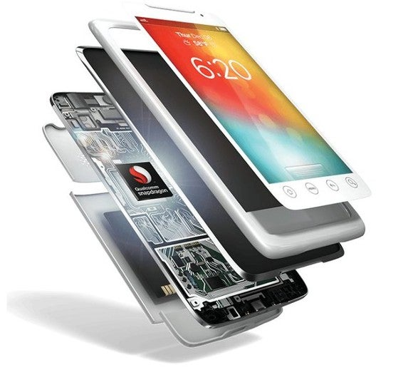 A cutaway of a smartphone revealing a Snapdragon processor inside.