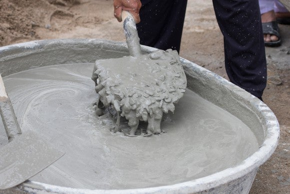 Mixing cement.