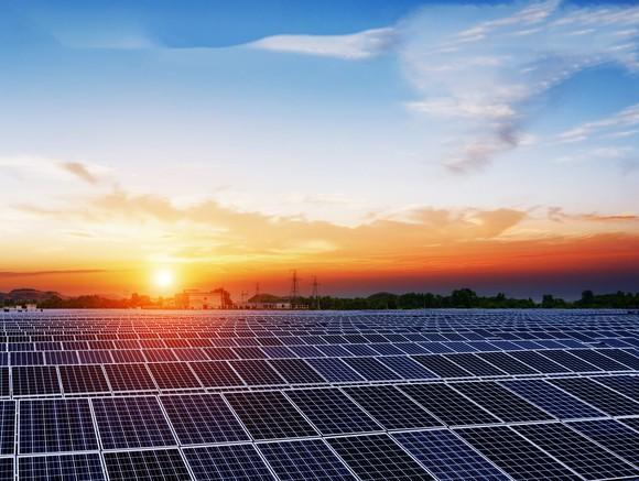 Solar panels at sunset.