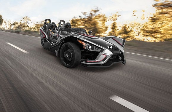 Polaris Industries' three-wheeled Slingshot motorcycle