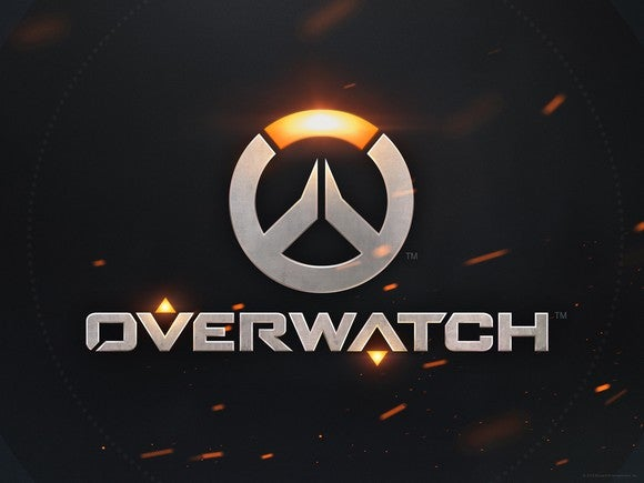 Overwatch logo with title and symbol of game in silver against a black background.