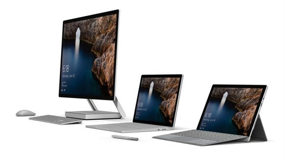 Microsoft's Surface family of products, including the Surface Studio, Surface Book, and Surface Pro.