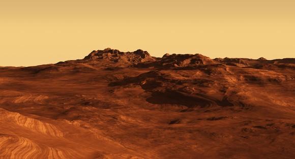 An imaginary Martian landscape illustration.