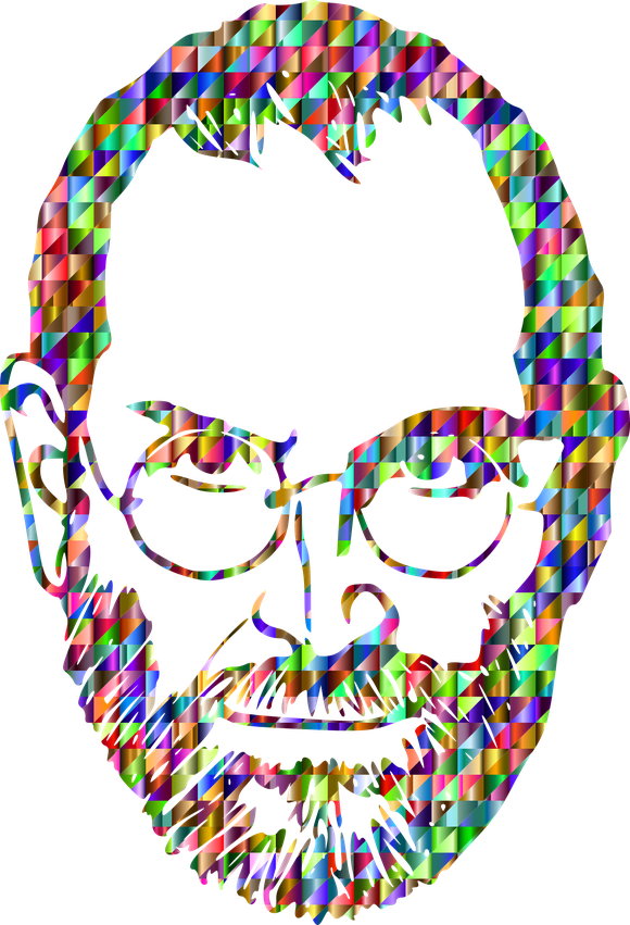Image of Steve Jobs formed with colored bits