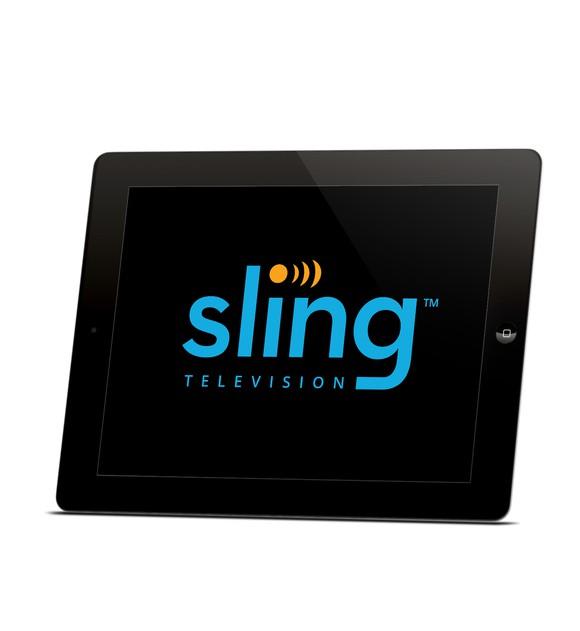 Sling TV logo on tablet.