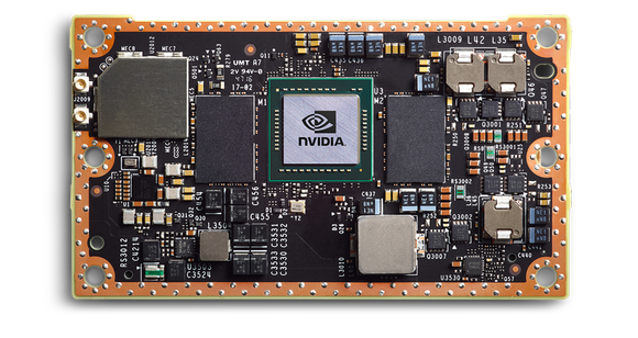 A side view of circuit board of NVIDIA's Jetson GPU.