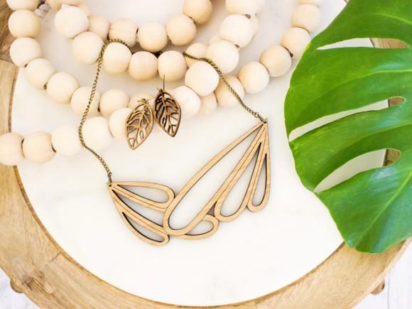A leaf-print necklace