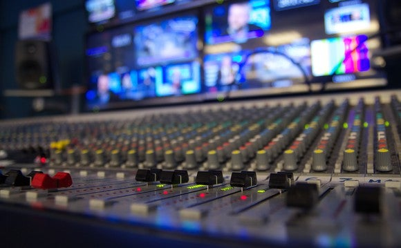 A mixing board in a TV production room