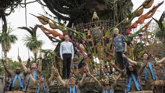 James Cameron and Disney CEO Bob Iger at the Pandora dedication ceremony.