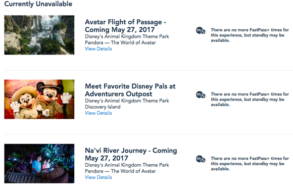 Screenshot of Disney showing FastPass already sold out 30 days in advance for passholders.