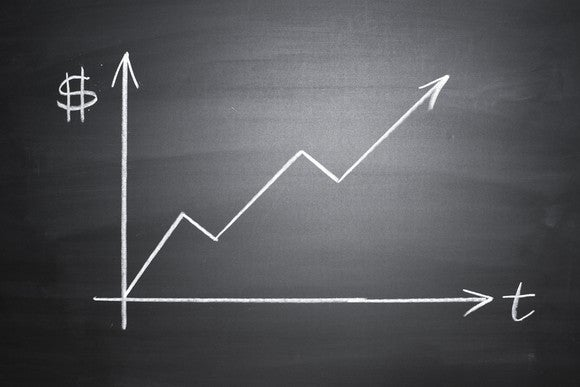 A graph showing an upward trend is drawn on a blackboard.