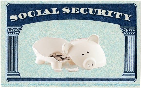 A Social Security Card with a broken piggy bank in the middle of it.