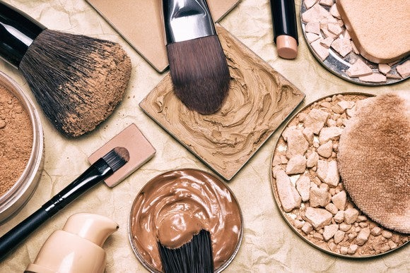 Close-up view of a variety of cosmetic products