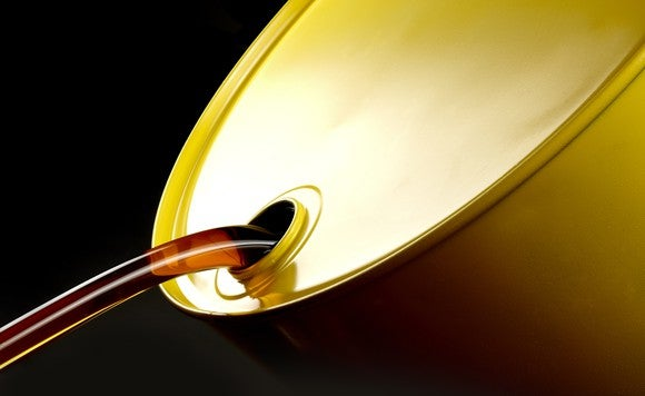 Oil pouring from a barrel.