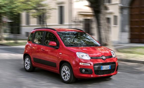 A red Fiat Panda.