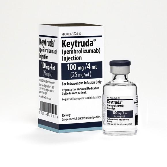 Box and bottle of Merck's Keytruda