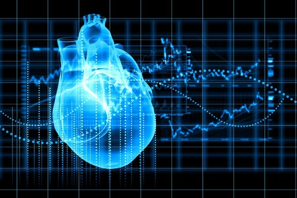 Digital image of heart and cardiogram