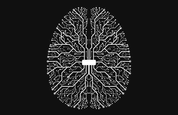 Brain graphic made out of computer circuits.