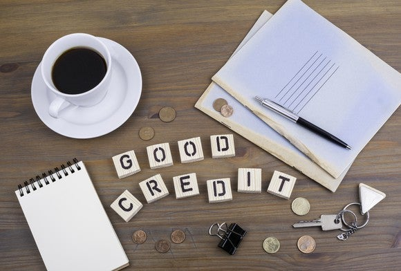 Good credit spelled out with letter tiles.