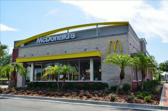 The palm tree-flanked exterior of a McDonald's in Sun City, Florida.