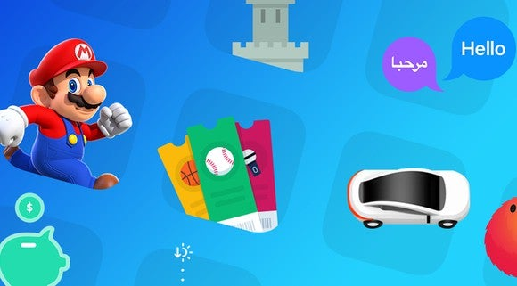 Various Apple App Store icons against a blue background.