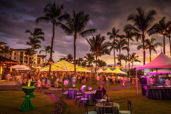 A huge party at Kapalua Resort, Maui.