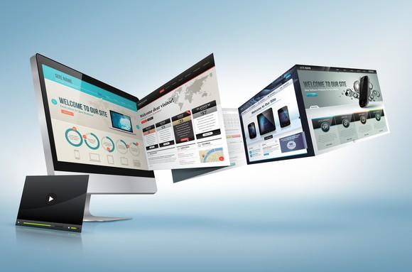 Multiple illustrations of a potential website design