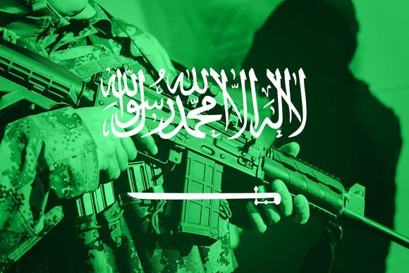 Soldier with rifle superimposed on Saudi flag