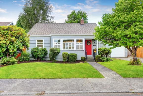 Small house in suburban neighborhood