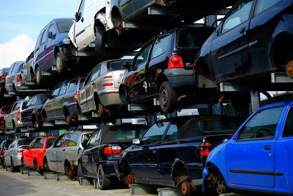 Cars are piled up on top of each other.