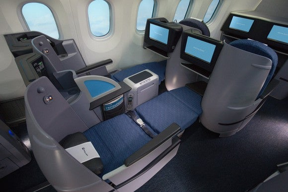 Flat-bed business class seats on United Airlines