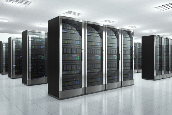 Data center full of modern server racks.