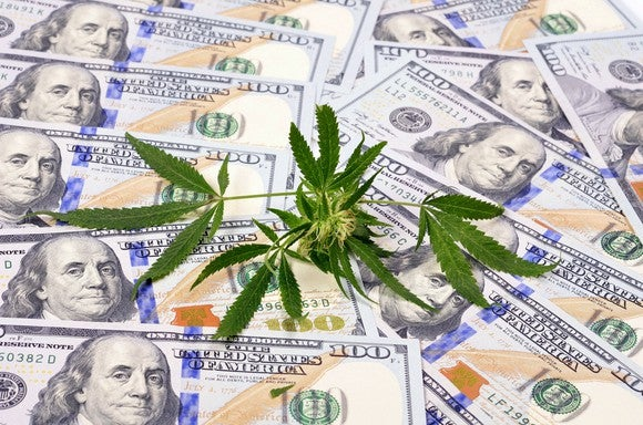 Marijuana leaf on pile of hundred dollar bills