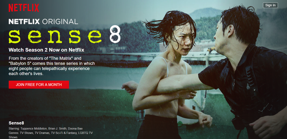 "Two people fighting in scene from movie Netflix series ""Sense8"""