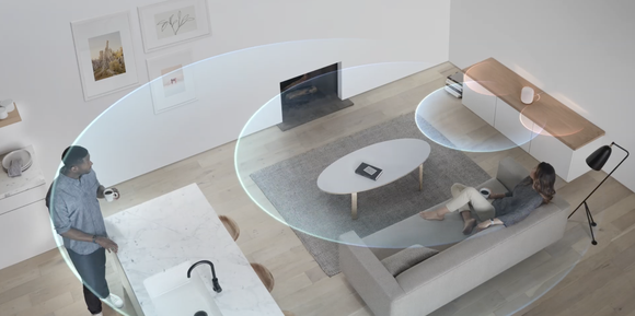 Visualization of HomePod recognizing its surroundings and adjusting audio output