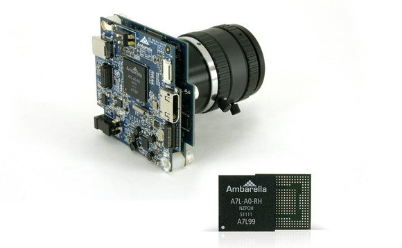 An Ambarella A7L chip, seen up close and on a circuit board.