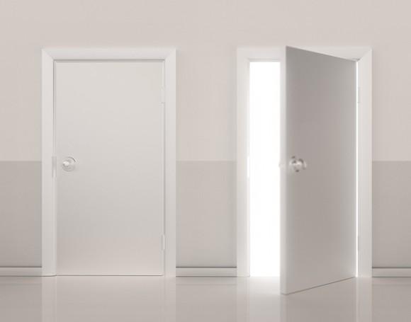 2 doors with 1 open