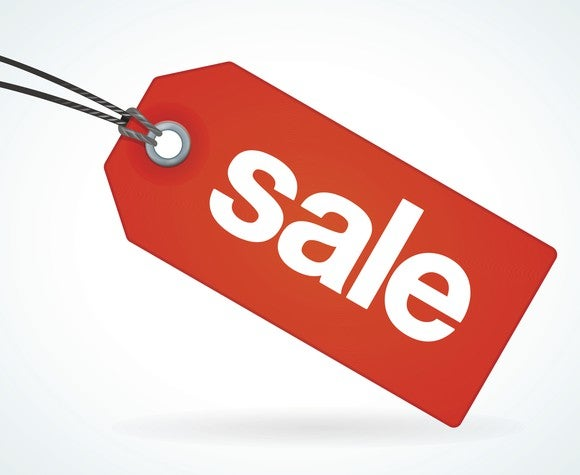 Bright red sale tag.