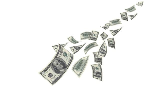 $100 dollar bills streaming down.