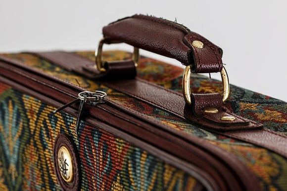 close-up of suitcase