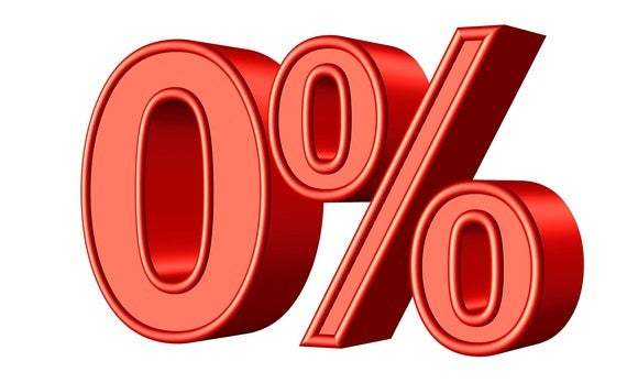 zero percent, in red, and in 3-d effect